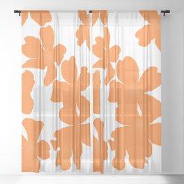 Primrose floral pattern in orange Sheer Curtain