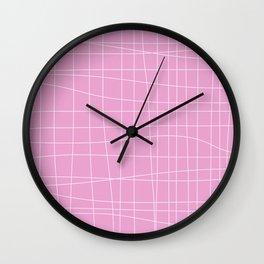 Simple Grid Pattern in Pink Lavender Wall Clock