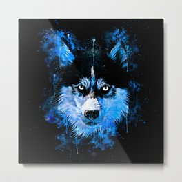 husky dog face splatter watercolor blue Metal Print
