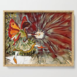 Red and Orange Fairy Girl watercolor by CheyAnne Sexton Serving Tray