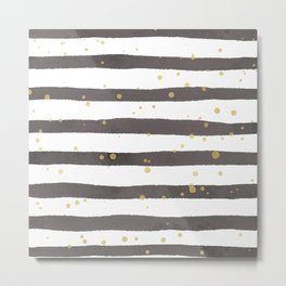 Modern gray yellow white watercolor splatters stripes Metal Print