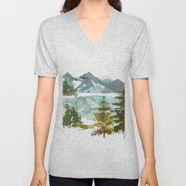 Forest green teal blue watercolor hand painted landscape Unisex V-Neck