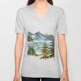 Forest green teal blue watercolor hand painted landscape Unisex V-Neck