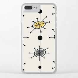 Atomic Era Satellites Yellow Gray Clear iPhone Case