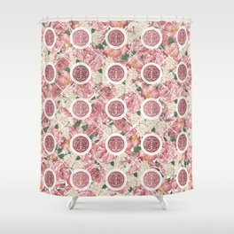 Double Happiness Symbol on Gentle Peony pattern Shower Curtain