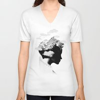 silhouette V-neck T-shirts featuring It's a cloudy day by Robert Farkas