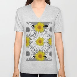 Decorative B&W Yellow-White Sunflowers Unisex V-Neck