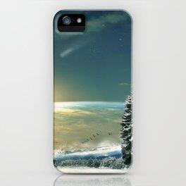 Winter Village At Night With Globus Sunrise At Horizon Ultra HD iPhone Case