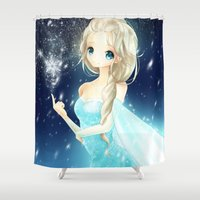 elsa Shower Curtains featuring elsa by waffle