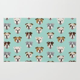 English Bulldog pattern print dog breed pet portrait gifts for dog owner bulldog Rug