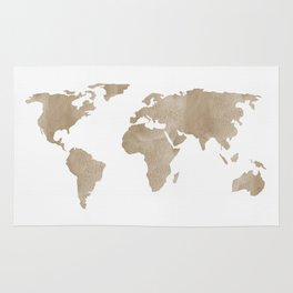 World Map - Beige Watercolor Minimal on White Rug