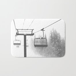 Chairlift Abyss // Black and White Chair Lift Ride to the Top Colorado Mountain Artwork Bath Mat