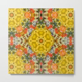Marigold Kaleidoscope Photographic Pattern #1 Metal Print