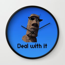 Moai Deal With It Wall Clock