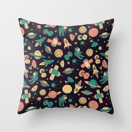 Retro Space Pattern Throw Pillow