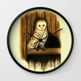 Barn Owl with Children Wall Clock