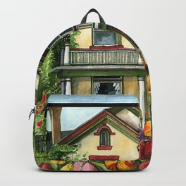 Farmhouse with Spring Tulips Backpack