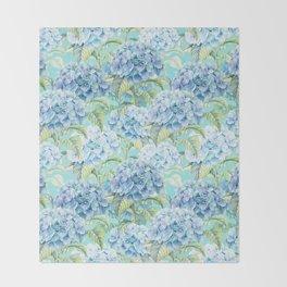 Blue floral hydrangea flower flowers Vintage watercolor pattern Throw Blanket
