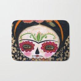 Frida The Catrina - Dia De Los Muertos Painted Skull Mixed Media Art Bath Mat