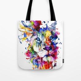 Colorful Lion, Lion Face Tote Bag