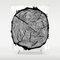 tree rings Shower Curtains featuring Growing Old - Tree Rings by Courtnduncan