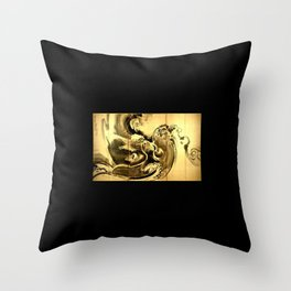 Dragon amid the waves by soga shohaku Throw Pillow