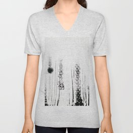 Black & white flower field illustration Unisex V-Neck