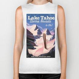 Lake Tahoe vintage ski travel poster Biker Tank