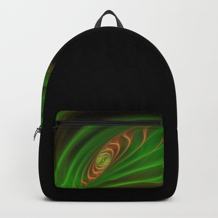 Gold Green Peacock Feather Backpack