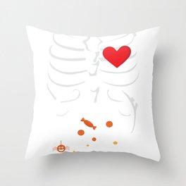 Pregnancy Rib Skeleton Baby Trick or Treat Throw Pillow