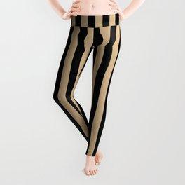 Tan Brown and Black Vertical Stripes Leggings