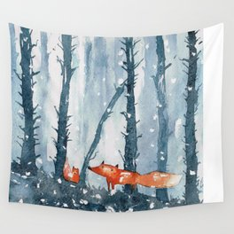 Foxes in forest Wall Tapestry