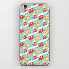 Christmas Stockings, Santa Hat And Ornament Pattern iPhone Skin