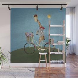 giraffe bicycle Wall Mural