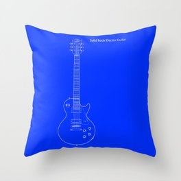 Solid Body Electric Guitar Blueprint Throw Pillow