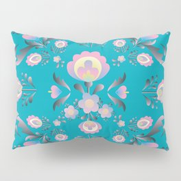 Dusty Blue Folk Flowers Pillow Sham