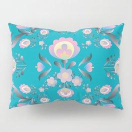 Dusty Blue Folk Flowers Pillow Sham