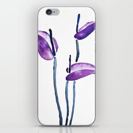 three purple flamingo flowers iPhone Skin
