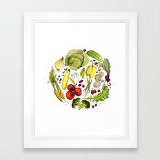Vegetable Mandala Framed Art Print