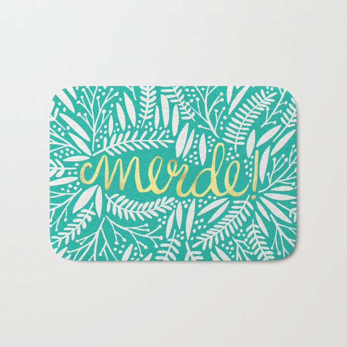 Pardon My French – Gold on Turquoise Bath Mat