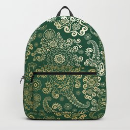 Golden Luxury Paisley on Green Mountain Background Backpack
