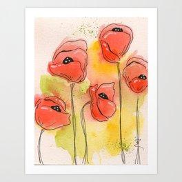 Coral Florals Art Print