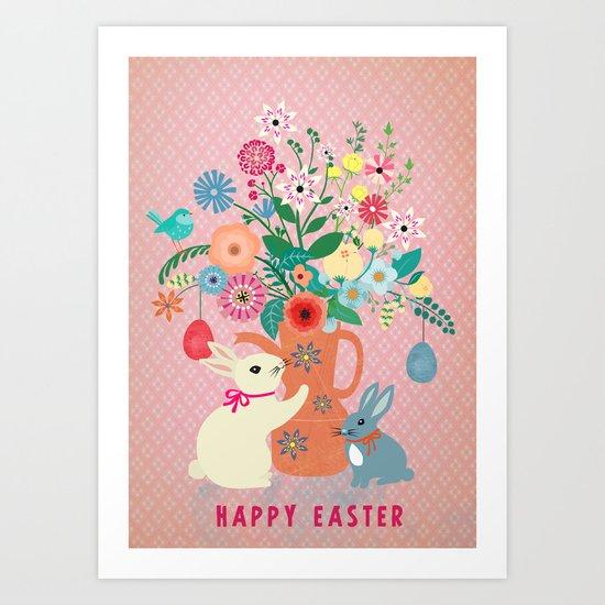 happy vintage easter Art Print