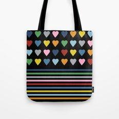 Heart Stripes Black Tote Bag
