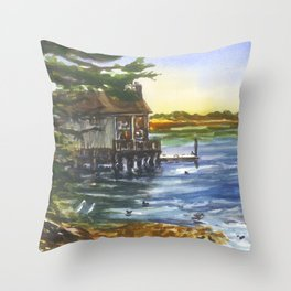 Lucas Wharf at Bodega Bay Throw Pillow