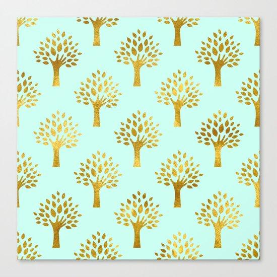 Mint Gold Foil 02 Canvas Print