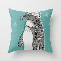 penguin Throw Pillows featuring Penguin by Rachel Russell