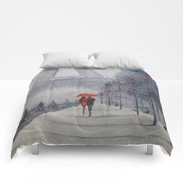 Paris in the snow Comforters