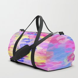 sexy kiss lipstick abstract pattern in pink blue yellow red Duffle Bag