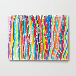 Coloured crayon stripes Metal Print